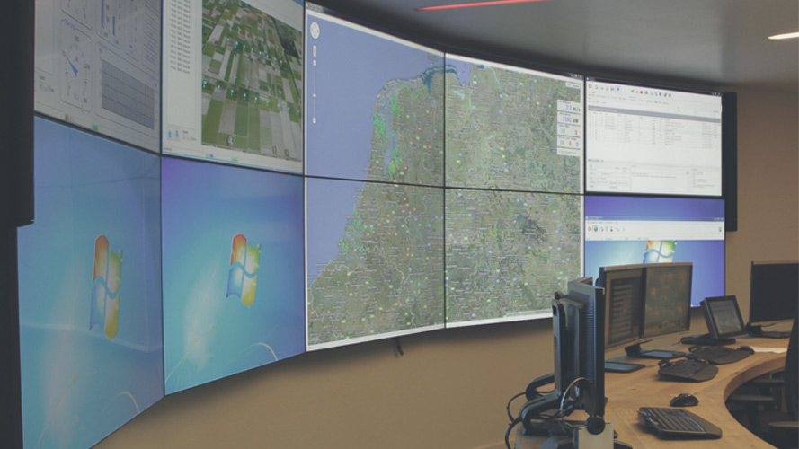 Image of the alarm center running on multiple screens